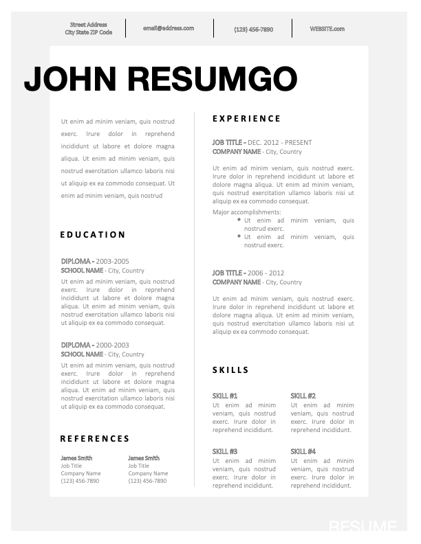 JAEL - Free Simple CV Template With a Fancy Gray Border