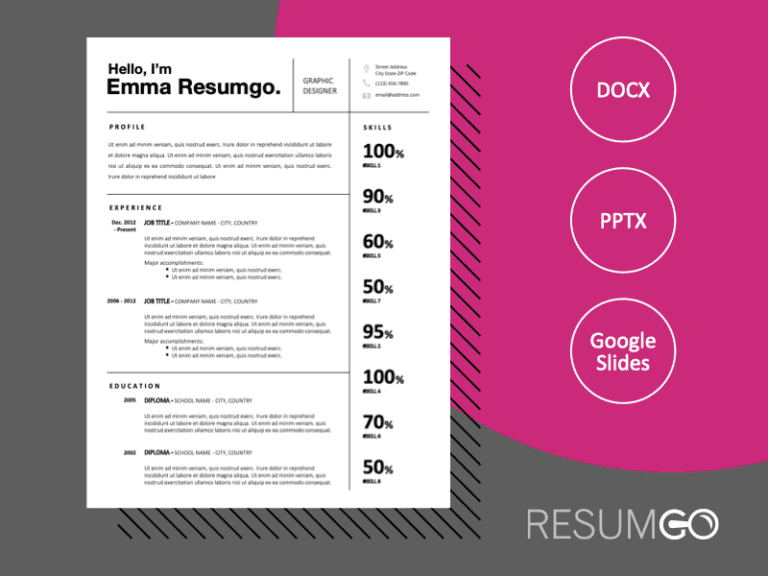JAIDYN - Free Black and White CV Template With Grids - ResumGO