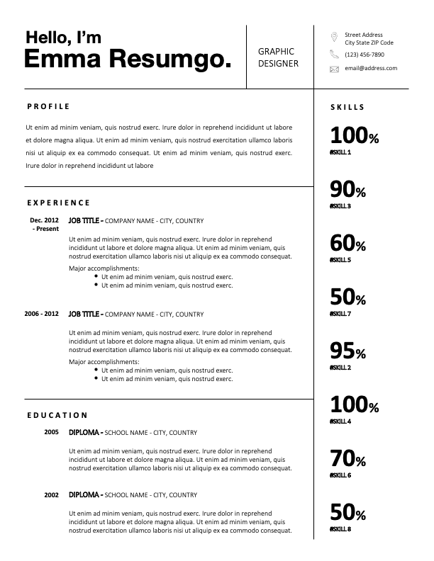 JAIDYN - Free Black and White CV Template With Grids