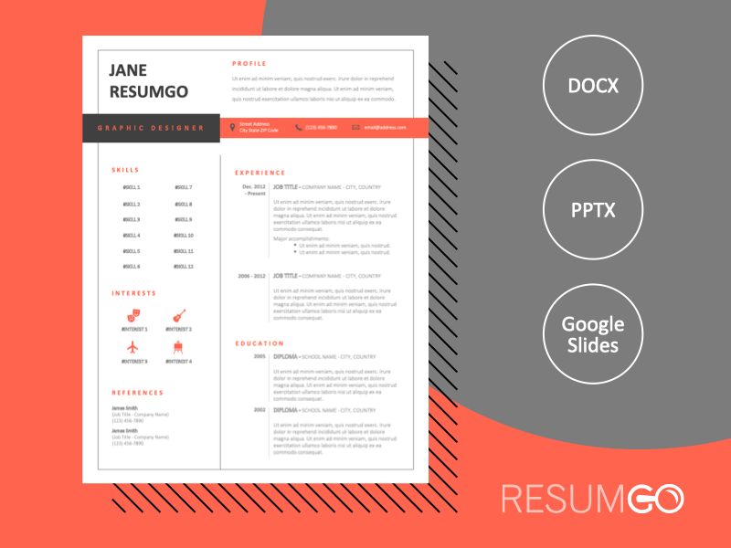 JULES - Free Black and Red CV Template With a Withe Background - ResumGO