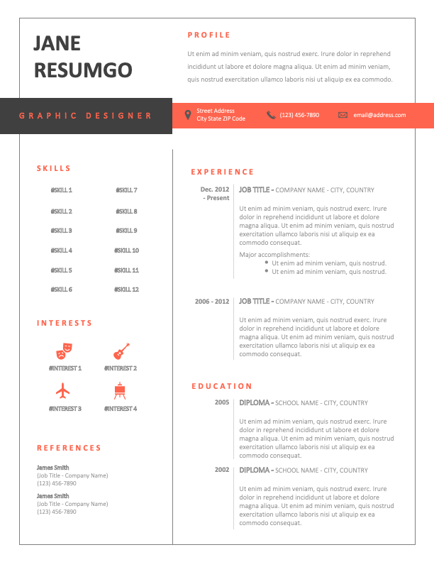 JULES - Free Black and Red CV Template With a Withe Background