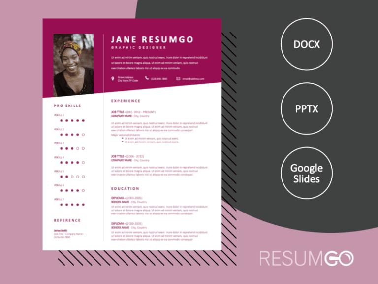 KYLAR - Free Fancy CV Template With a Purple-Red Diagonal Header - ResumGO