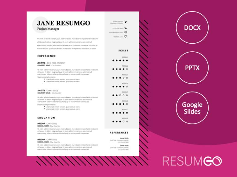 MURPHY - Free Sober CV Template With a Gray Vertical Banner - ResumGO