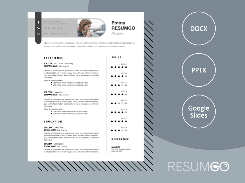 RAMSEY - Free Elegant CV Template With Paperclip-Shaped Header - ResumGO