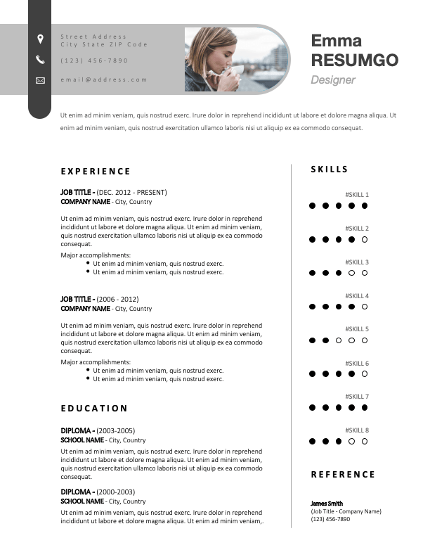 RAMSEY - Free Elegant CV Template With Paperclip-Shaped Header