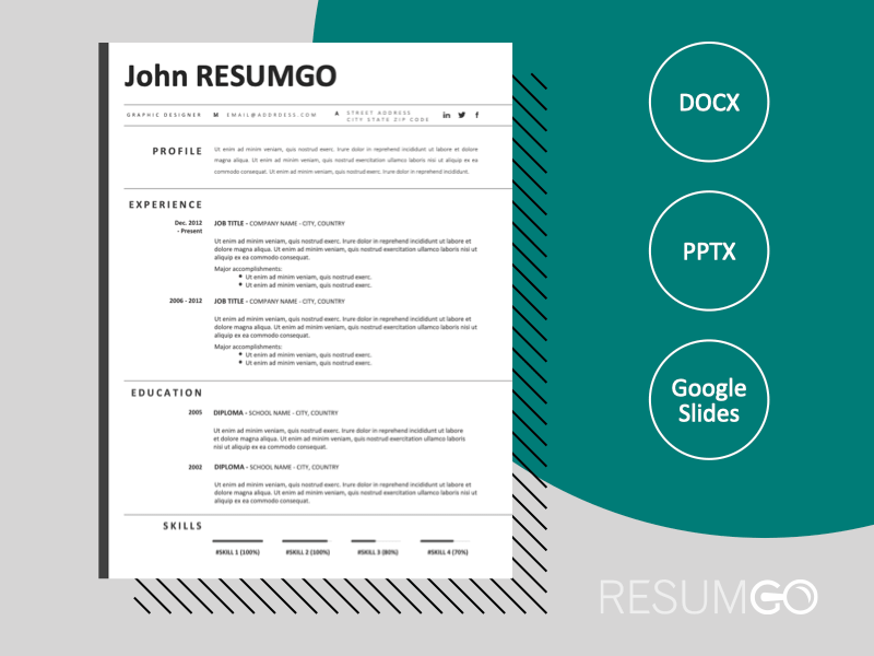 REILLY - Free Black and White CV Template With an Elegant Left Border - ResumGO