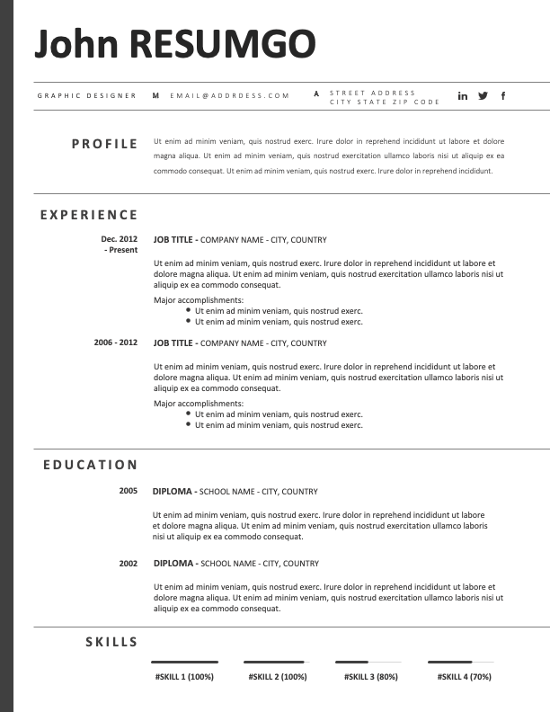 REILLY - Free Black and White CV Template With an Elegant Left Border