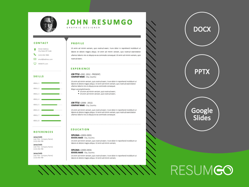 SALEM - Free Green and Black CV Template With a Clear Header - ResumGO