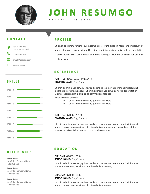 SALEM - Free Green and Black CV Template With a Clear Header
