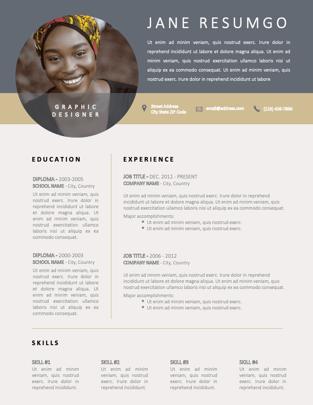 YAEL - Free Classy Silver and Gold CV Template