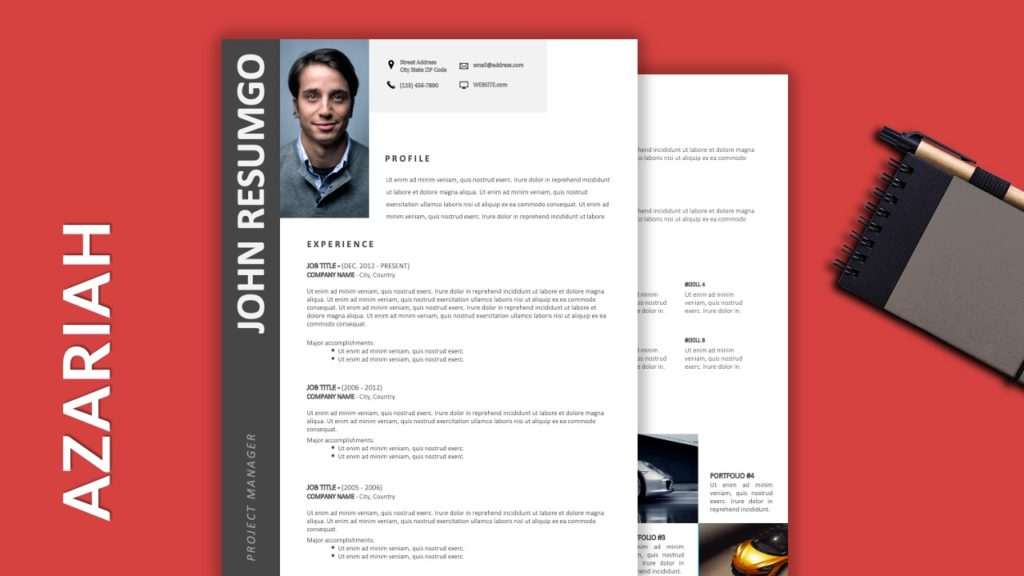 AZARIAH - Free Resume Template with Gray Elements