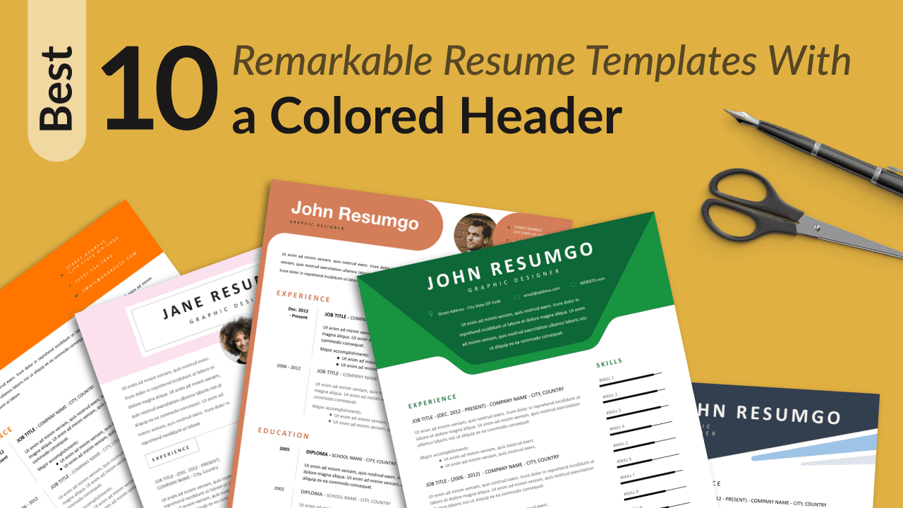 Best Free Resume Templates with Colored Header