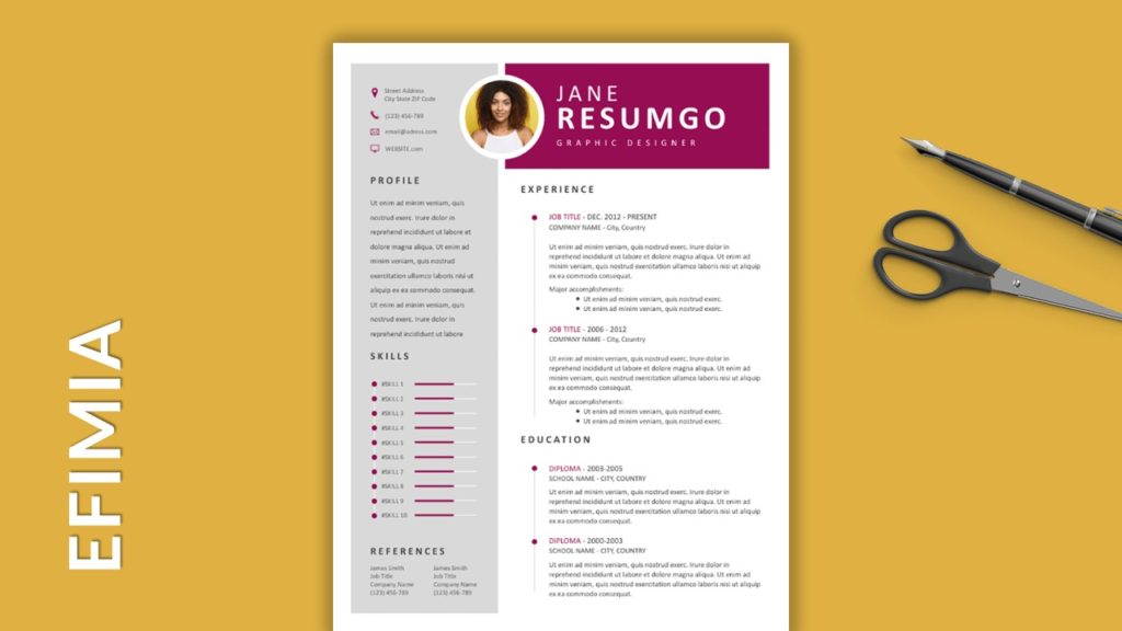 EFIMIA - Free Resume Templates With Colored Header