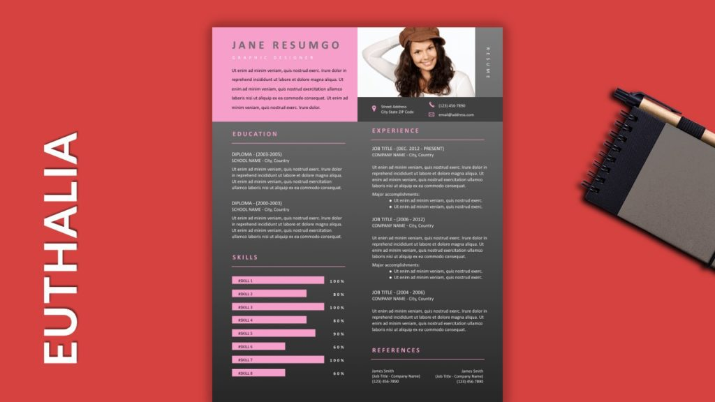 EUTHALIA - Free Resume Template with Gray Elements