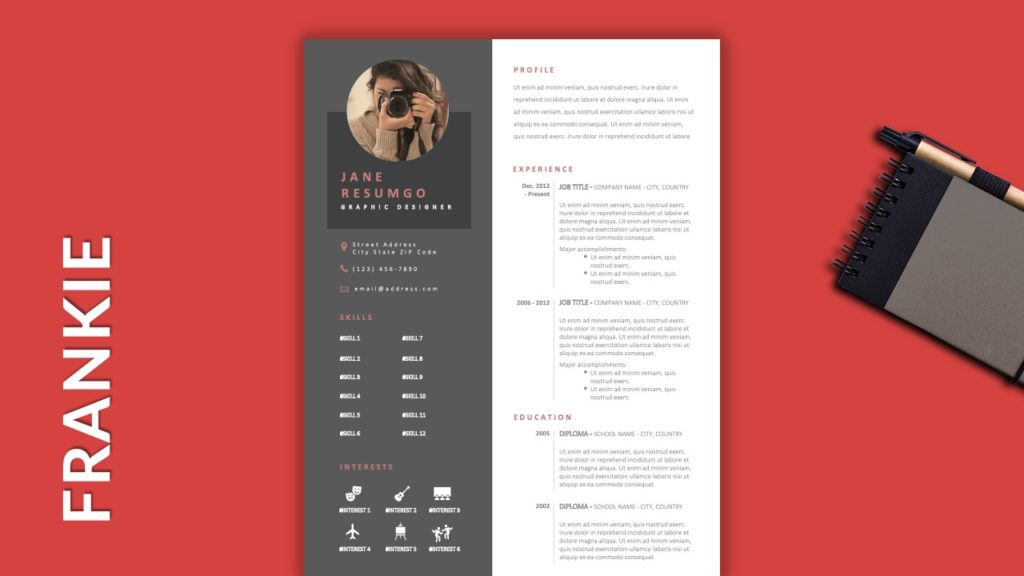 FRANKIE - Free Resume Template With Gray Elements