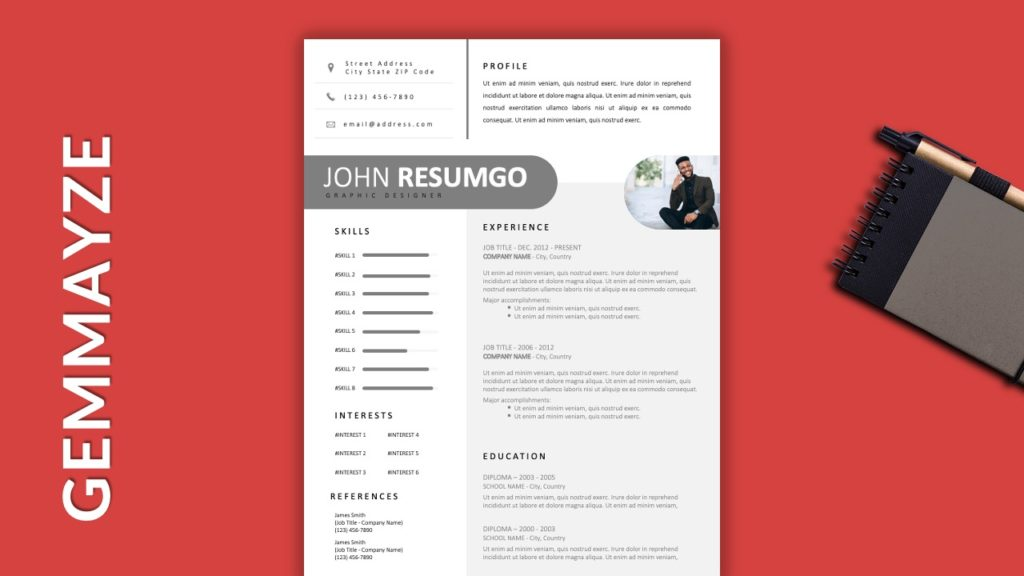 GEMMAYZE - Free Resume Template With Gray Elements