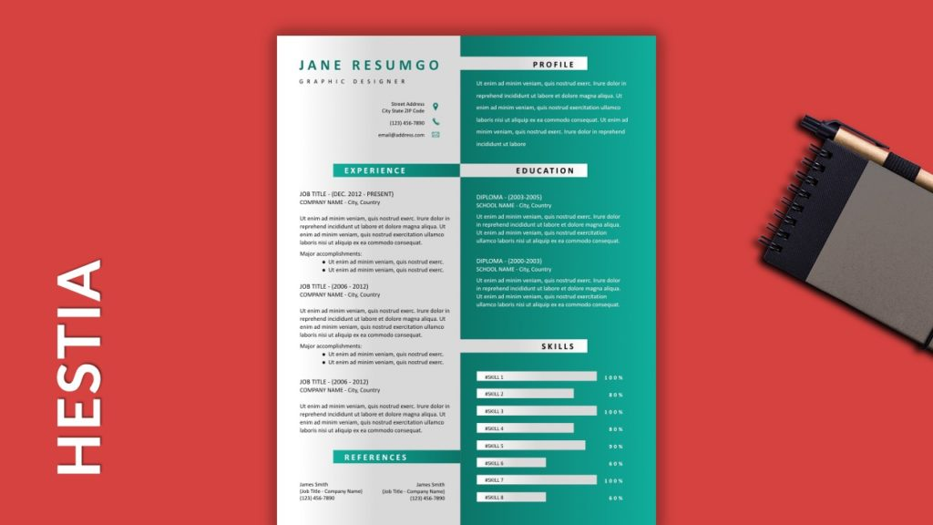 HESTIA - Free Resume Template With Gray Elements