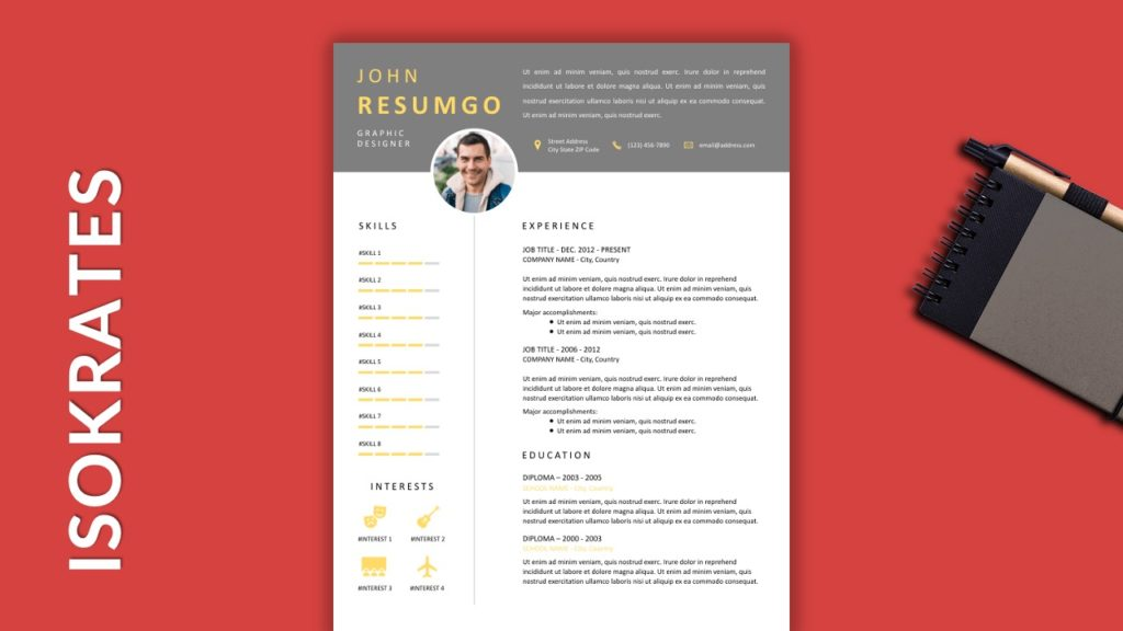 ISOKRATES - Free Resume Template With Gray Elements