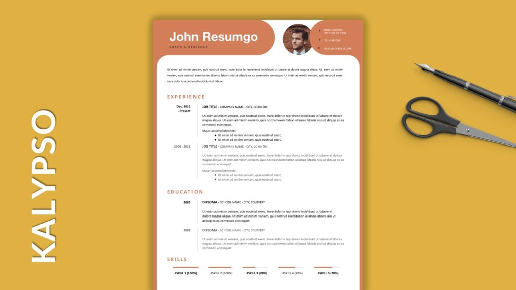 KALYPSO - Free Resume Templates With Colored Header
