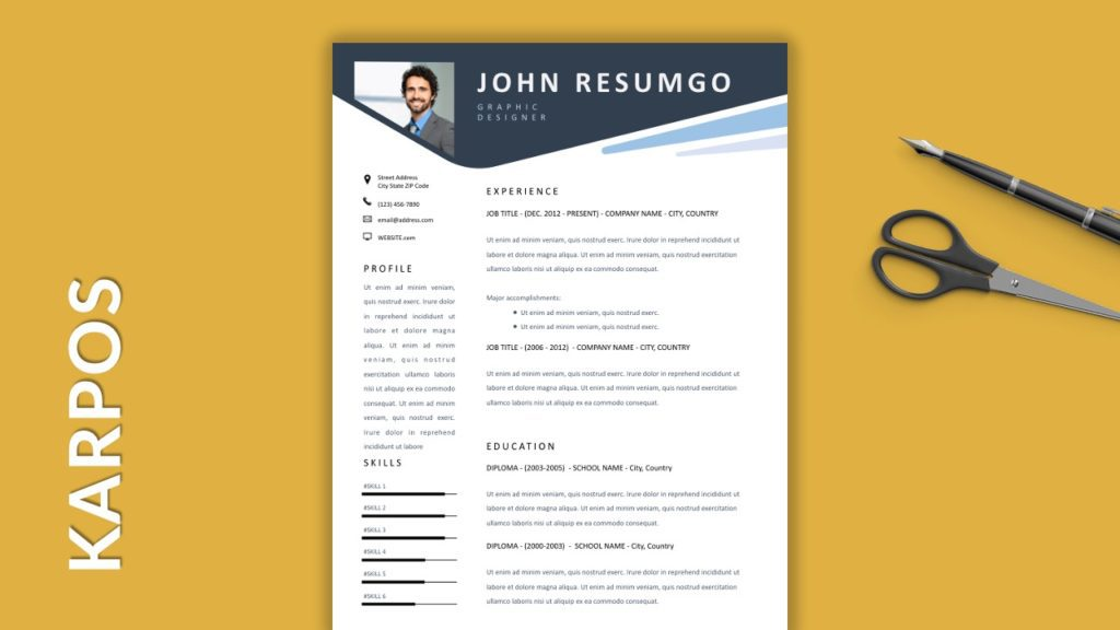 KARPOS - Free Resume Templates With Colored Header