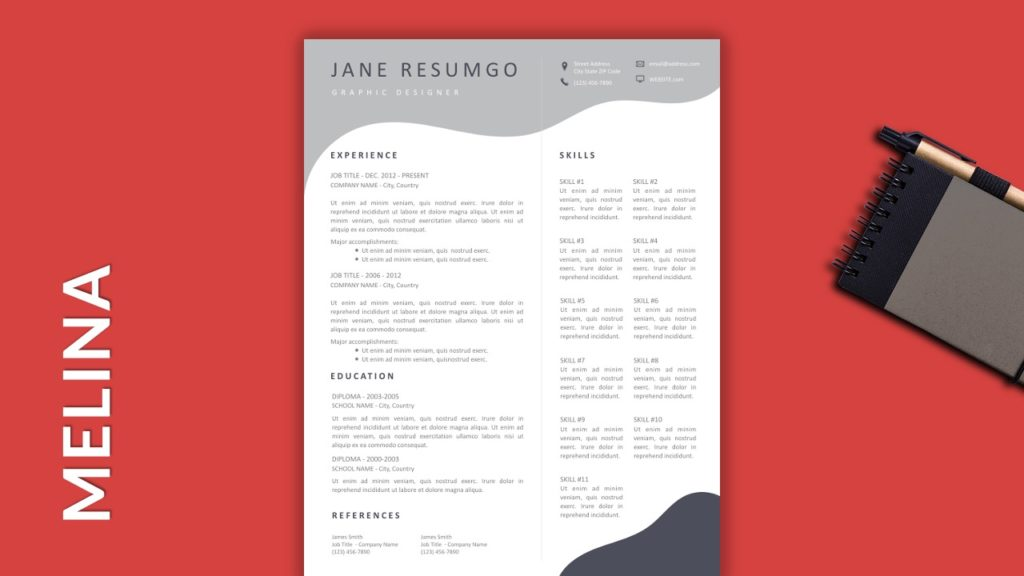 MELINA - Free Resume Template With Gray Elements