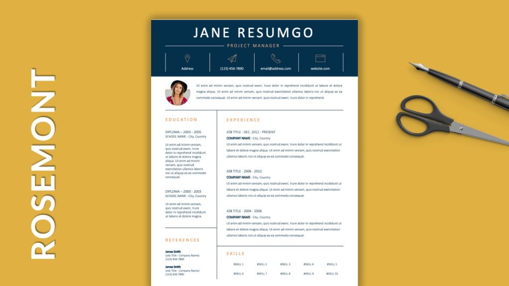 ROSEMONT - Free Resume Templates With Colored Header