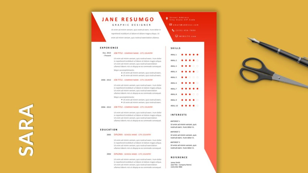 SARA - Free Resume Templates With Colored Header