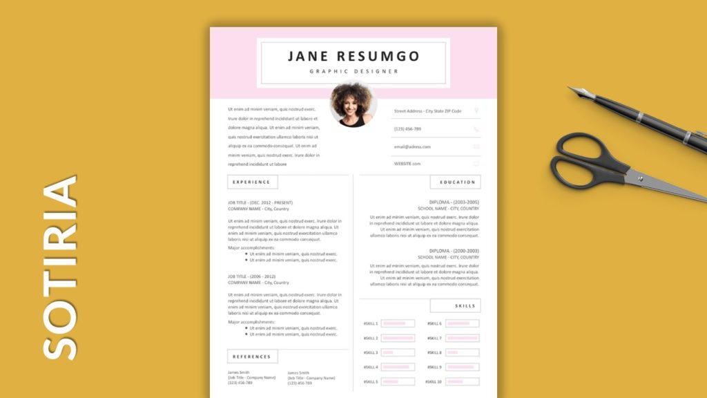 SOTIRIA - Free Resume Templates With Colored Header
