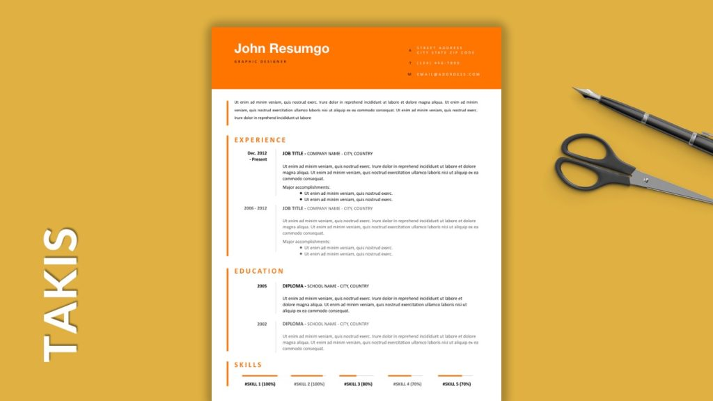TAKIS - Free Resume Templates With Colored Header