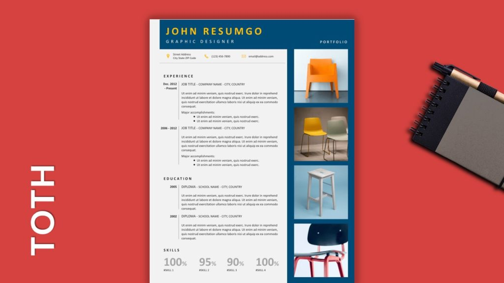TOTH - Free Resume Template With Gray Elements