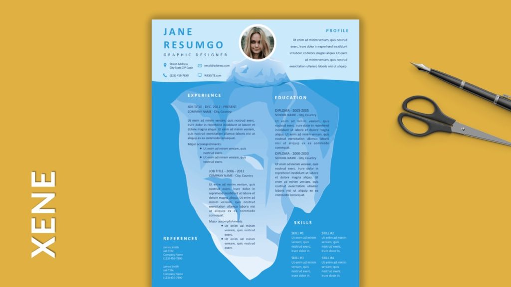XENE - Free Resume Templates with Colored Header